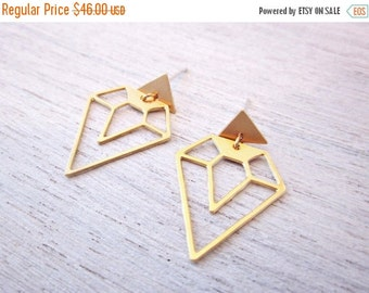 Sale 20% OFF Diamond and Triangle Earrings, Geometric Earings, signature Earings, Architectural Jewelry