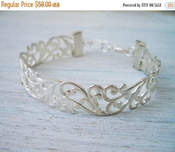 Sale 20% OFF Lia- Filigree Bracelet, wedding bridal jewelry, filigree cuff bracelet