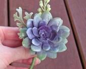 Purple & Mint Green Succulent Boutonniere, Custom Made Colors