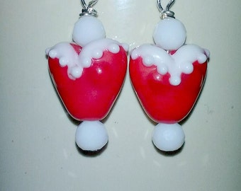 Red and White Heart Lamp Work Bead Earrings, Valentine's