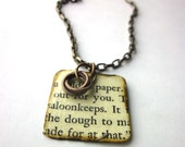 Book page necklace, literary necklace, Book page pendant, Unconquered