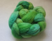 Sale: Hand Dyed Wool Roving Green for Spinning & Felting