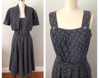 Blue Paisley Pinafore and Bolero 1950s Dress