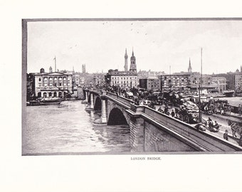 1900 Architecture Photograph - London Bridge London England - Antique Vintage Design Art Photo Illustration for Framing 100 Years Old