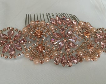 Gorgeous Rose Gold Rhinestone Comb for Your Wedding or Special Occasion