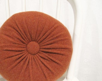 Burnt Orange Cashmere Round Throw Pillow / Accent Decorative Couch Cushion / Felted Cashmere Wool Pillow / Sofa Accent Pillows 11