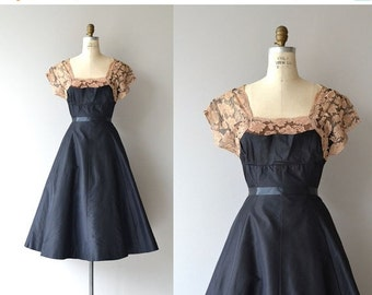 25% OFF.... Grand Street dress | vintage 1950s party dress | taffeta and lace 50s dress
