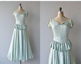 25% OFF.... Long Goodbye dress | vintage 1940s dress • brocade 40s max dress