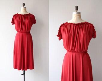 Je Vous Amie dress   vintage 1970s dress   red 70s dress