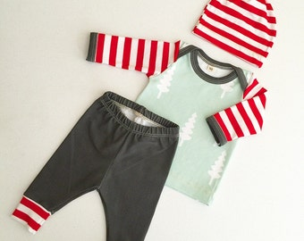 Newborn Baby Boy Coming Home Outfit, Boys Clothing, Pants Shirt with Matching Hat, Candy Cane Stripes, Christmas Trees, Holiday