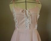 Vintage 1970s pink striped summer dress, sundress, shoulder straps, elastic back, small, medium
