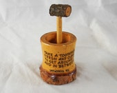Vintage toothpick holder souvenir Lake Geneva Wisconsin wood rustic small