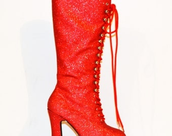 Vintage Boots Chunky Platform Red