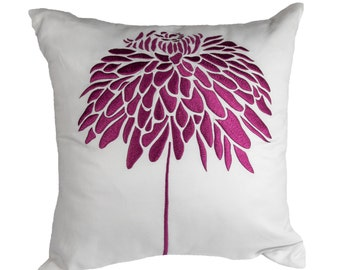 Purple Peony Throw Pillow Cover, White Linen Deep Purple Flower,Embroidered, Floral Couch Pillow, Flower Cushion, Purple Pillow Accent