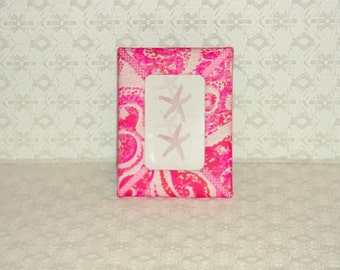 Preppy Pink Lilly Jellyfish Fabric Picture Frame 4x6