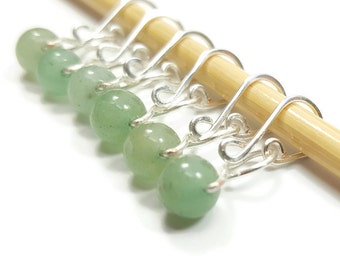 Stitch Markers for Crochet - Green Aventurine Melody - Stitch Markers - Small, Medium, Large, or XL