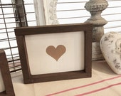 Framed Wooden Sign- Wood Sign- Gold Metallic Heart- Gallery Wall Picture- Collage Art- Home Decoration- Wall Decor- Shelf Sitter