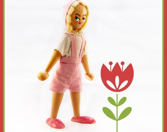 Vintage Wood Peg Doll , Made in Poland Travel Doll Handstitched pink jumper , Blonde Mohair 9 Inch with original sticker