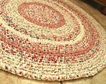 "Cottage chic. Crochet rag rug, round, pink, white, multi, eco, 34""."