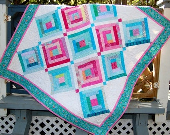 Handmade Baby Quilt, Log Cabin Baby Quilt, Bright Colors Quilt, Baby Girl Quilt, Aqua and Pink Baby Quilt