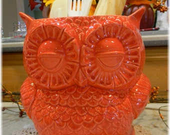 Ceramic OWL Large Red Planter Vase   Kitchen utensil holder     Ready to ship items in my shop . owlpl