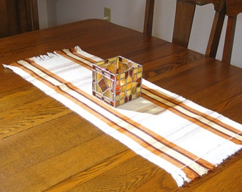 Fall Plaid Table Runner Handwoven Table Runner Thanksgiving Buffet Scarf Hand Woven Coffee Table Runner Orange, Gold and Brown Table Runner