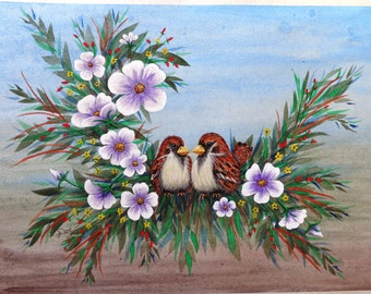 Mr. & Mrs. Sparrow, Original Watercolor Print