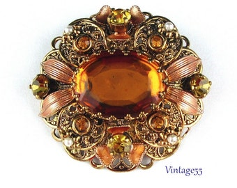 Brooch Golden Amber Rhinestone Filigree Germany