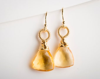 Erin: Citrine Gemstone Drop Earrings w/ Gold-filled, Yellow, Sunshine, Coiled, Small, Petite, Natural, Elegant, Simple