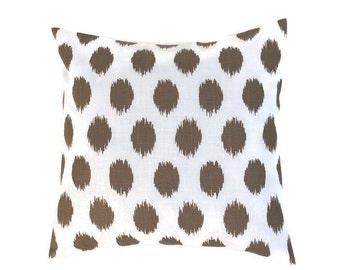 Brown ikat Dots Pillow Cover, Premier Prints iKat Dots Italian Brown Drew, Choose Size 16x16, 18x18, 20x20