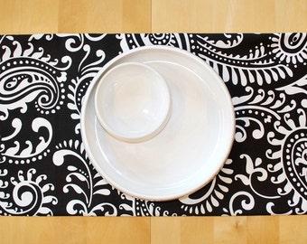 Black Table Runner, Paisley Premier Prints Walker Black White, Kitchen Nook Dining Room Tablerunner