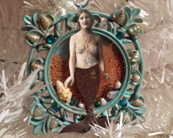 Mermaid Ornament Original Altered Art Collage Mermaid