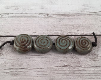 Handmade Ceramic Beads - Coin Beads - Spiral Beads - Craft Supplies - Ready to Ship - Made by Marsha Neal Studio