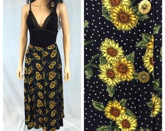 Vintage Navy Blue Sunflower Skirt. Rayon Skirt. August Max Woman. 1980s. 1x. Plus Size. Summer Button Down Skirt. Brass Buttons. Polka Dot.