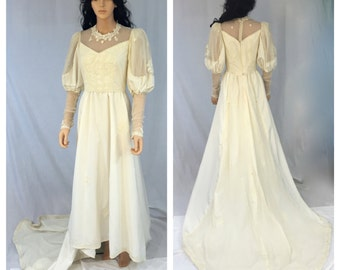Vintage Off White Handmade Wedding Dress. Long Train. Small. Medium. High Collar. Pearl Lace Accents. Puff Sleeves. 1980s. Beige. White.