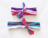 Top Knot Headband Matching Set, Mommy and Me, Headband Set, Pink Stripe