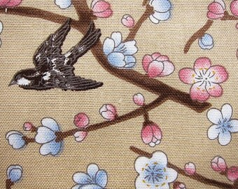 Floral Print Fabric - Birds and Cherry Blossoms - Cotton Fabric By The Yard - Half Yard