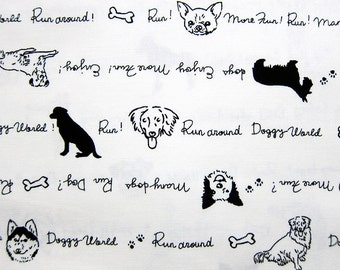 Animal Print Fabric - All Kinds of Dogs - Cotton Fabric - Fat Quarter