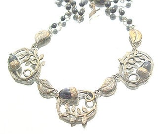 Antique Acron Necklace Metal Danity Art Nouveau Oak Leaf Delicate Acorns Necklace