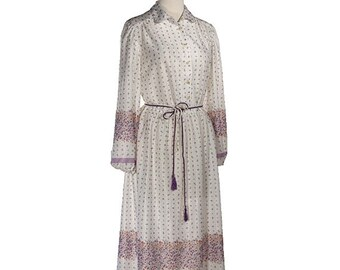 ON SALE VIOLETS 1970s Day Dress - Flower Meadow Boho - Ms Sugar - size Med