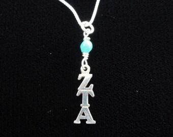 Zeta Tau Alpha Lavalier Necklace- Zeta Tau Alpha Sorority Pendant- Sterling Silver Charm- Greek Sorority Necklace- Turquoise Blue Bead
