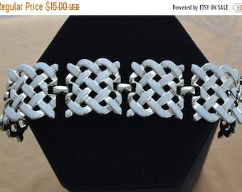 On Sale Pretty Vintage White Enamel Woven Gold tone Bracelet