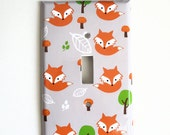 Woodland Fox Switchplate Cover - Fox Nursery  - Babys Room Decor -  Rocker Plate cover