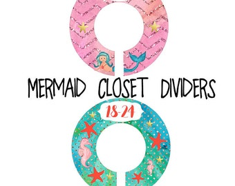 Mermaid Nursery Closet Dividers, Coral Pink Teal Gold Nursery, Baby Clothes Dividers, Plastic Clothes Organizer, Little Mermaid Nursery