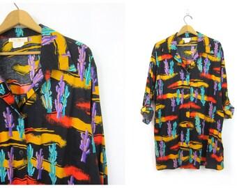 80s Western Shirt CACTUS Print Black Button Down Tunic Shirt Cowboy Western Southwestern Hipster Vintage Shirt Women's Plus Size 1X