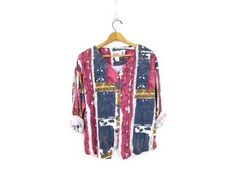 Abstract Print 90s Shirt Long Sleeve Blouse Button Up Slouchy Retro hipster Shirt Vintage Colorful tee shirt Women's size Large