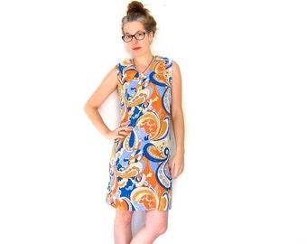 60s Floral Dress Flower Power Mod Mini Dress ABSTRACT Sundress Orange Hippie Blue Op Art Blue Sleeveless Dress Louannes Vintage Small Medium