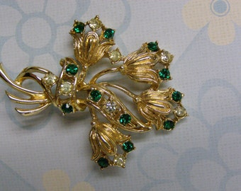 Flower Bouquet Emerald Green and White Rhinestone Brooch Broach Pin Gold