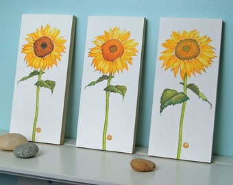 3 Sunflower Flower Prints Mounted Wood Blocks Floral