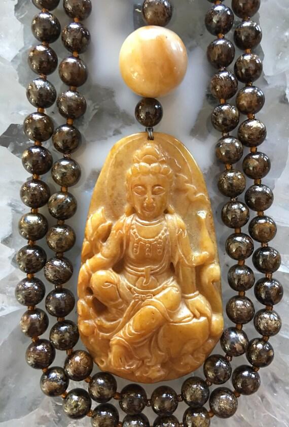 Bronzite and Jade Mala/Prayer Beads